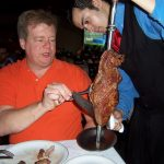 Fred selecting excelent meat at the Churrascaria